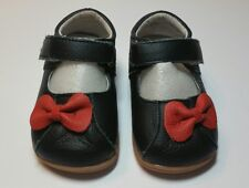 Black Leather Mary Jane Squeaky RED Bow Velcro Closure Little Girls Size 4 NEW