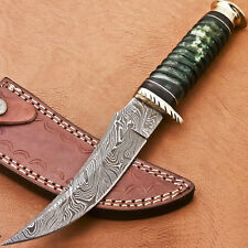 HAND MADE DAMASCUS STEEL HUNTING KNIFE - HARD WOOD - STAINED CAMEL BONE - R-6667