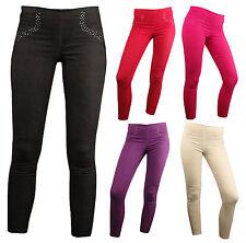 Ladies Coloured Diamante Denim Leggings Stretchy Jeggings Skinny Fit All Sizes