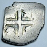 1600's Spanish Silver 2 Reales Clipped Cob Piece of 8 Real Colonial Pirate Coin