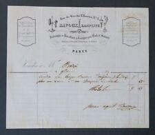 Facture 1853 LAMPISTE BAVOUX PARIS  belle entête illustrée 22
