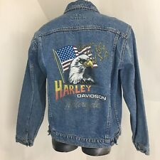 Harley Davidson Mens An American Legend Born In The USA Jean Jacket Size L Large