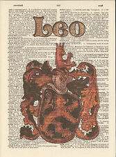 Zodiac Sign Leo Astrology Altered Art Print Upcycled Vintage Dictionary Page