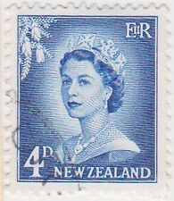 (NZK741) 1955 NZ 4d blue QEII large numerals (A)