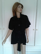 GEORGE BLACK CHUNKY CABLE KNIT CARDIGAN SIZE 14 COLLAR SHORT SLEEVES BELT