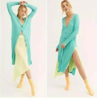 Free People size S Skinny Mini Ribbed Knit Duster Aqua Blue Green Cardigan  AT