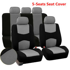 9pcs Dirt-proof Wearproof Seat Cover Mesh Polyester Front+Rear Cover Gray Color