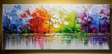 Abstract Oil painting on canvas, Trees, Lake , Waterfall, hand painted,
