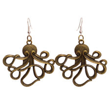 Steampunk Octopus Earrings Fancy Dress Nautical Pirate Bronze Ear Hook Alloy