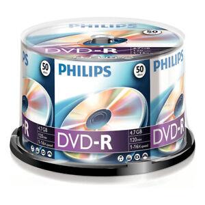 50er Spindel Philips 4,7 GB DVD-R Rohlinge 120 Min. Aufnahmezeit max. 16x Speed