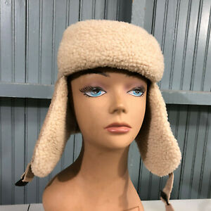 Trapper Winter Medium / Large Ear Flaps Suede Leather Insulated Cap Hat