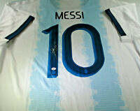 LIONEL MESSI / AUTOGRAPHED TEAM ARGENTINA LOGO PRO STYLE SOCCER JERSEY / COA