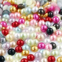 2-14mm Multi-color Half Pearl Bead Flat Back DIY Craft Making Nails Art Decor