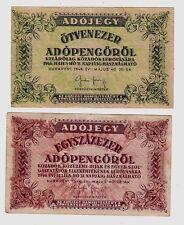 Ungheria Hungary 100.000 + 500.000 adepengo  1946   BB  VF set di 2   lotto 1214