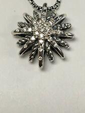 David Yurman Sterling Silver 16mm Small Starburst Diamond Pendant Chain Necklace