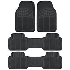 Black Rubber Floor Mat 3 Row 4 Piece Trimmable All Weather Max Protection