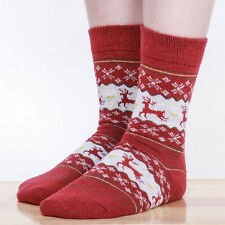 Women Winter Socks Christmas Warm Wool Sock Cute Snowflake Deer Comfortable uf