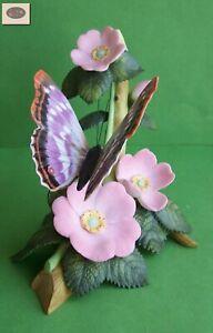 VINTAGE 1991 LENOX Fine Porcelain PURPLE EMPEROR Flower Butterfly