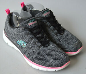 Ladies Skechers Grey Skech Knit Lace Up Lite Weight Trainers Size UK 7