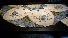 """Vintage  Madeira  heavy embroidery  round  tablecloth and napkins 65 """" diameter"""