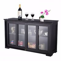 Wooden Buffet Server Storage Cabinet Cupboard Island Glass Portable Counter