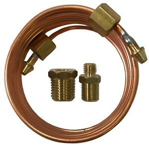 """Mechanical Oil Pressure Gauge 72"""" Inch Copper Line Tubing Install Kit w/ Fitting"""