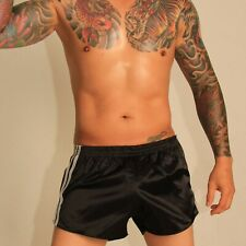 Retro Nylon Satin Football Shorts S to 4XL, Black & White