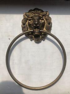 Vintage Brass Ring Towel Holder Lion Face Mask Head Bathroom Cloakroom Kitchen