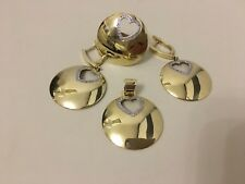 Set of 14k real gold earrings,ring chain round shape diamond ,jewellery