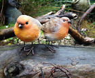 2pc Resin Robin Bird Set Detailed Garden Ornaments Decoration Patio Door Pond