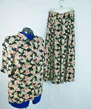 Carole Little women's Rayon Floral 2 Piece Top Wide Leg Palazzo Pant sz 4/8 K100