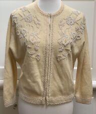 Vintage 50's Button Up Ivory Micro Beaded Cardigan Lambswool Angora Rabbit Fur