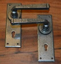 Victorian Cottage Style Wrought Iron Door Handles c/w keyhole Pewter Finish