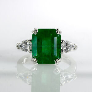 6.46 Carats Colombian Emerald and Diamond Statement Ring GIA Certified