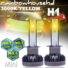 2PCS H1 Mini COB LED Headlight 3000K Golden Yellow High Low Beam Fog Light