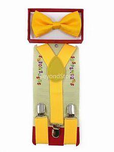 New Children Kids Boys Girls Suspender & Bowtie Matching Colors Set NEW