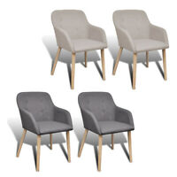 Kitchen Dining Side Chair solid Oak Frame w/ Armrests Light/Dark Gray 2pcs