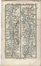 Antique map, Road: Tours to Angers. 1774, Guide Royal par L Denis