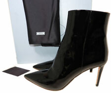 PRADA Boots Black Patent Leather Booties Pointy Toe Heel Fashion Ankle Shoe 38.5