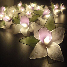 20 White Orchid Flower String Lights Fairy Wedding Hanging Backdrop Home Decor