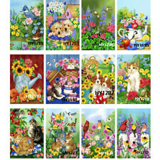 Blooming Flowers Cat & Dog Welcome Garden Flags Outdoor Holiday Lawn Yard Banner
