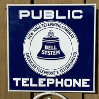 VINTAGE NY BELL SYSTEM TELEPHONE EMBOSSED METAL SIGN STAMPED PORCELAIN OIL GAS