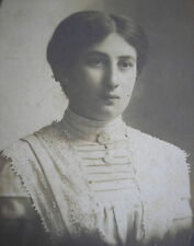 Lady w/Exceptional Antique Edwardian White Cotton Blouse& Middle Hairstyle Photo