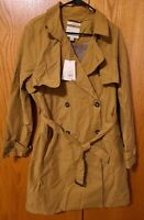 Women's Trench Coat A New Day Khaki Tan Medium Button Up Tie Waist Large NEW