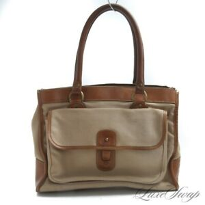 RARE Vintage Ghurka Marley Hodgson No. 9 The Runabout Canvas Leather Tote Bag NR