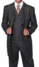 Men's Denim Suit Contrast Stitching Jacket Vest Pants Set Navy, Black