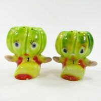 Vintage Anthropomorphic Melon squash Head People Salt Pepper Shaker Japan INV284