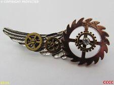 steampunk brooch badge pin silver wing gearwheels bronze rosegold cog mechanical