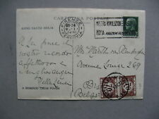 ITALY, PPC to Belgium 1934, postage due