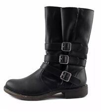 New Rampage Rainer casual motorcycle black buckle boots womens size 8